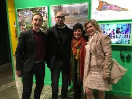 Bonnie Ora Sherk with Enrico Bonanate, Director, Parco Arte Vivente at the Exhibition The God-Trick