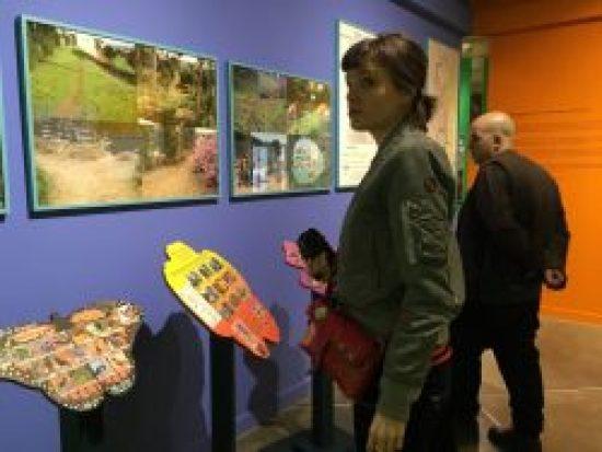 Visitors at Bonnie Ora's installation