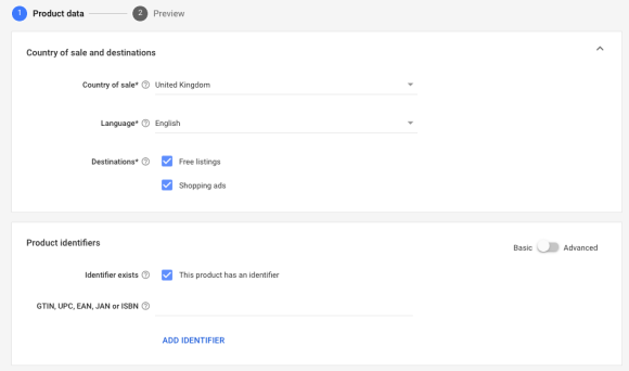 adding products to google merchant centre manually