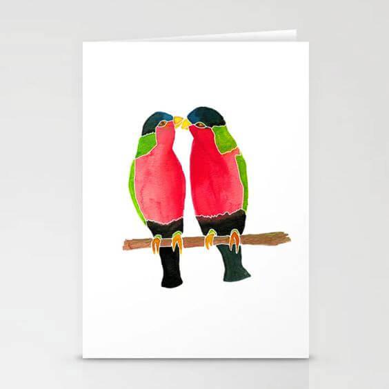 Australian Collared Lorry Birds – Watercolor Design