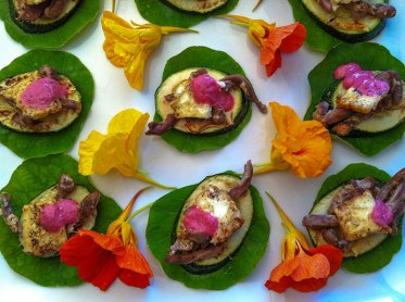 Nasturtiums, courgette, lamb tongue, goats cheese and black berry salsa