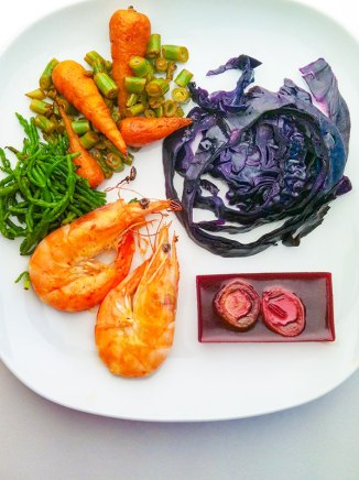 Sea grass, carrots, beans, red cabbage, black berries in agar and prawns