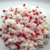 Basmati rice with pomegranate seeds