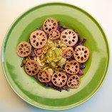 Red cabbage, lotus root, mushroom and coriander slasa