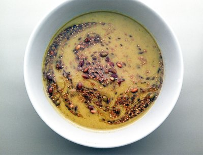 Red lentils with toasted seeds and infused oil