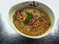 Puy lentil with parsley, crisped ginger and sunflower seeds