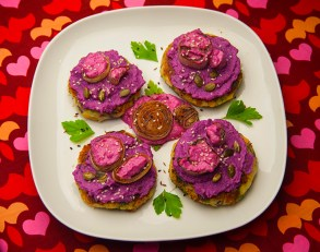 Potato patties, red cabbage and labne