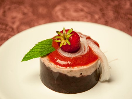 Black rice and strawberry dessert