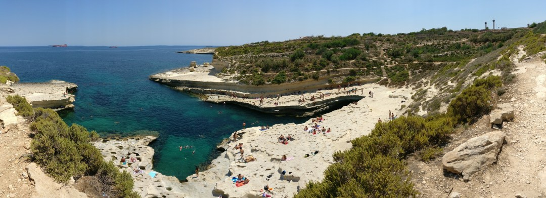 The view from the top of the pool - Day 2 in Malta- St Peter's Pool and the area of Valletta