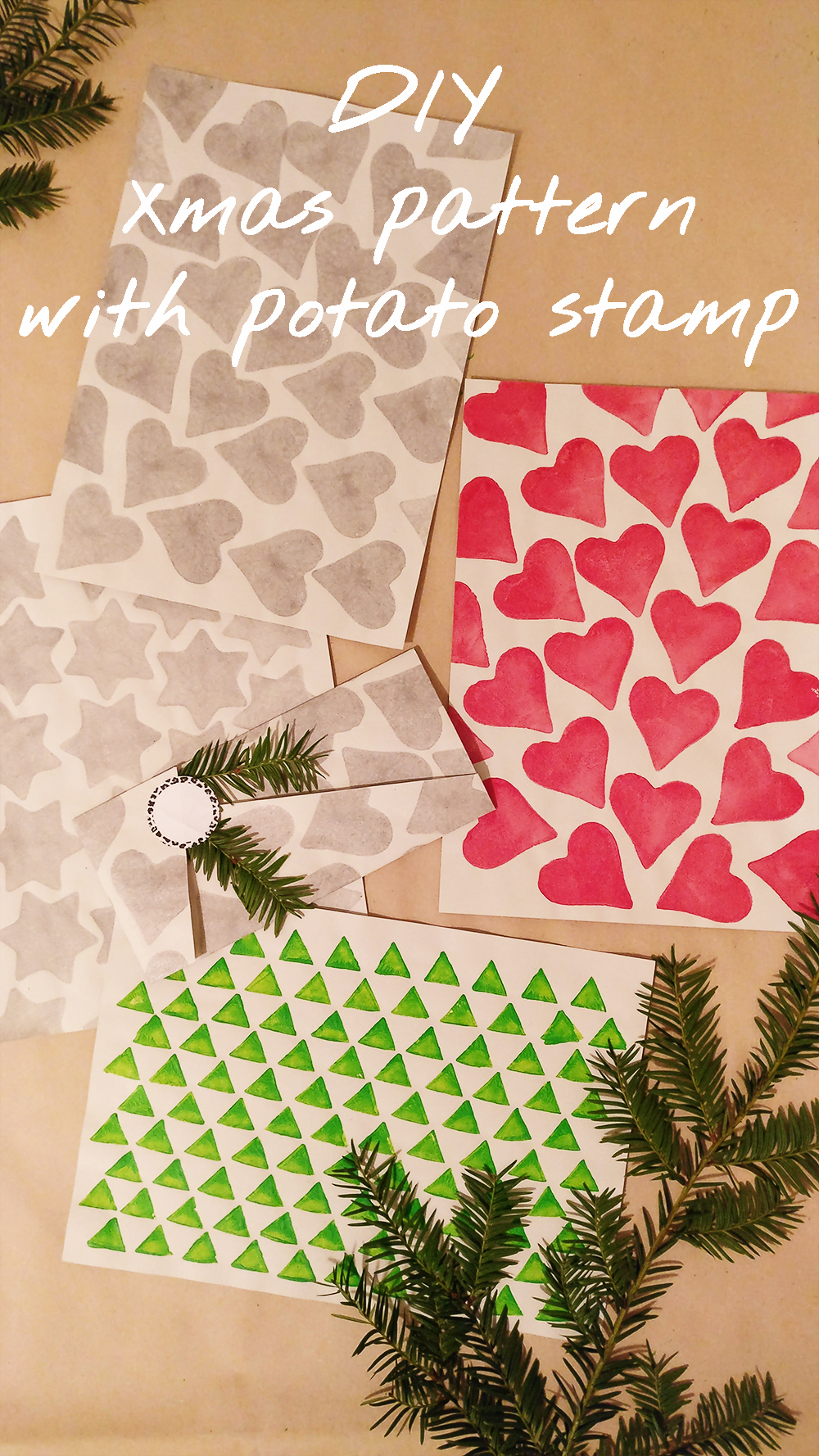DIY Christmas pattern with potato stamp - with free printables | Aliz's Wonderland