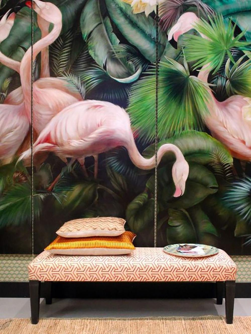 Flamingo wallcovering - Paintings, prints inspired by jungle - Transform your home into a tropical paradise | Aliz's Wonderland
