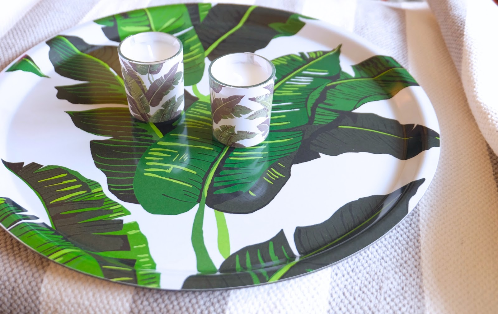 Banana Leaf Tray U0026 Banana Leaf Candles By Hu0026M Home   Tropical Kitchen    Transform Your