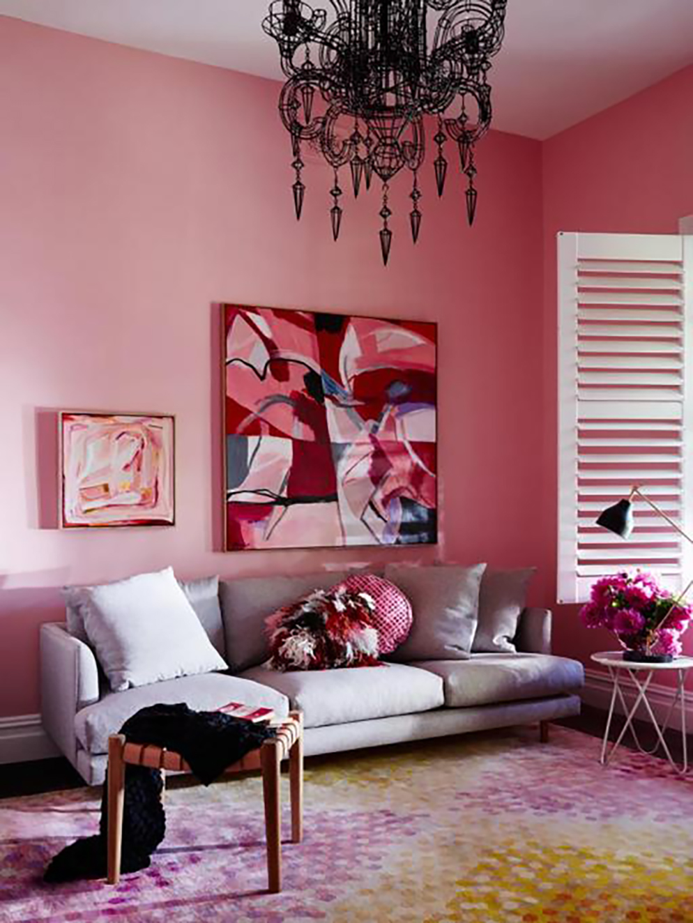 Aleha Rose pink living room by Haymes paint - Warm up your home with pink wall colour | Aliz's Wonderland