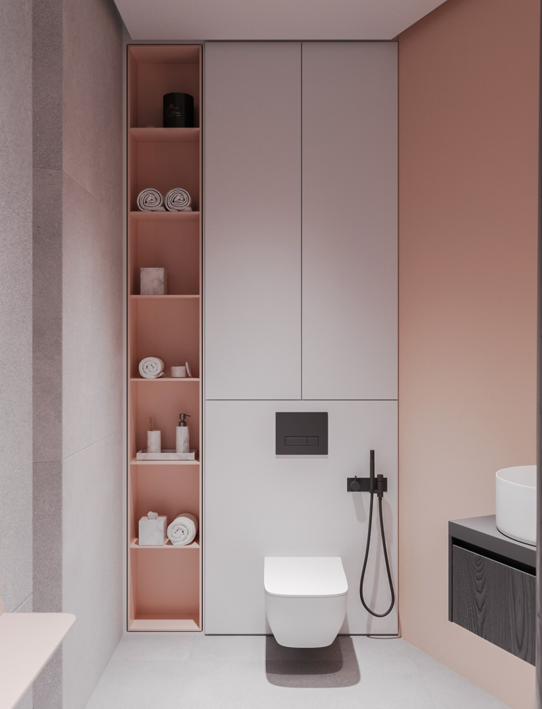 Modern pink bathroom from behance - Warm up your home with pink wall colour | Aliz's Wonderland