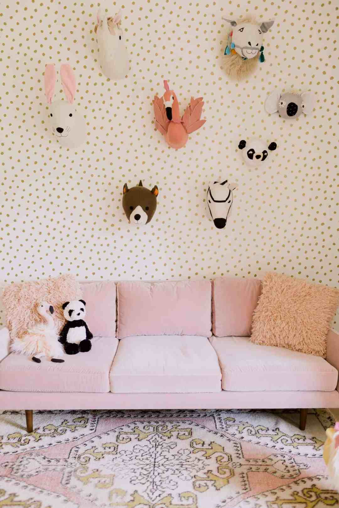 Flamingo head wall decor in a playroom - Decorate your home with flamingos | Aliz's Wonderland