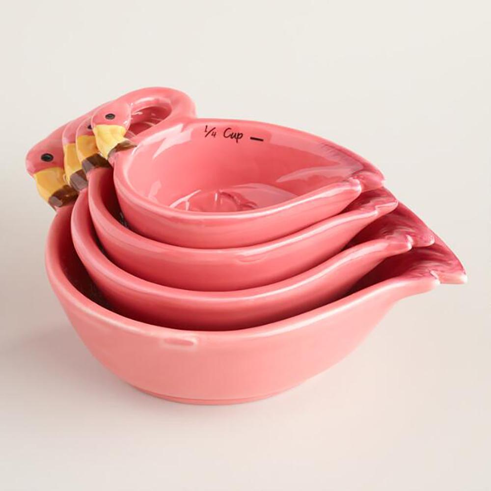 Flamingo ceramic measuring cups - Decorate your home with flamingos | Aliz's Wonderland