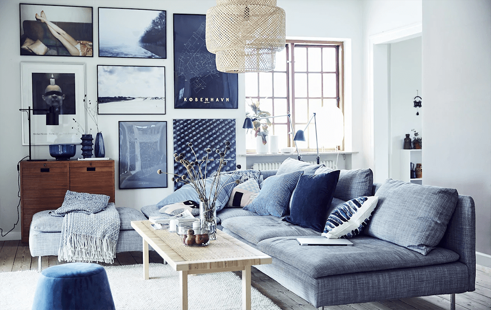 Bright blue living room dressed in the shades of blue by IKEA - 35 ideas for blue wall colour in home decoration | Aliz's Wonderland