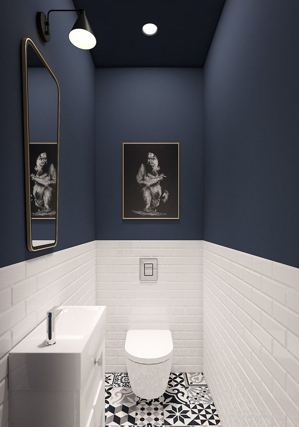 Stylish toilet with dark blue walls and white metro tiles - 35 ideas for blue wall colour in home decoration | Aliz's Wonderland