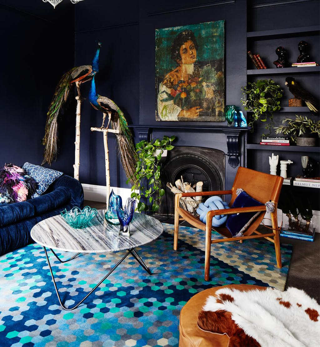 Dark blue living room with lighter shades of blue by Fenton & Fenton - 35 ideas for blue wall colour in home decoration | Aliz's Wonderland