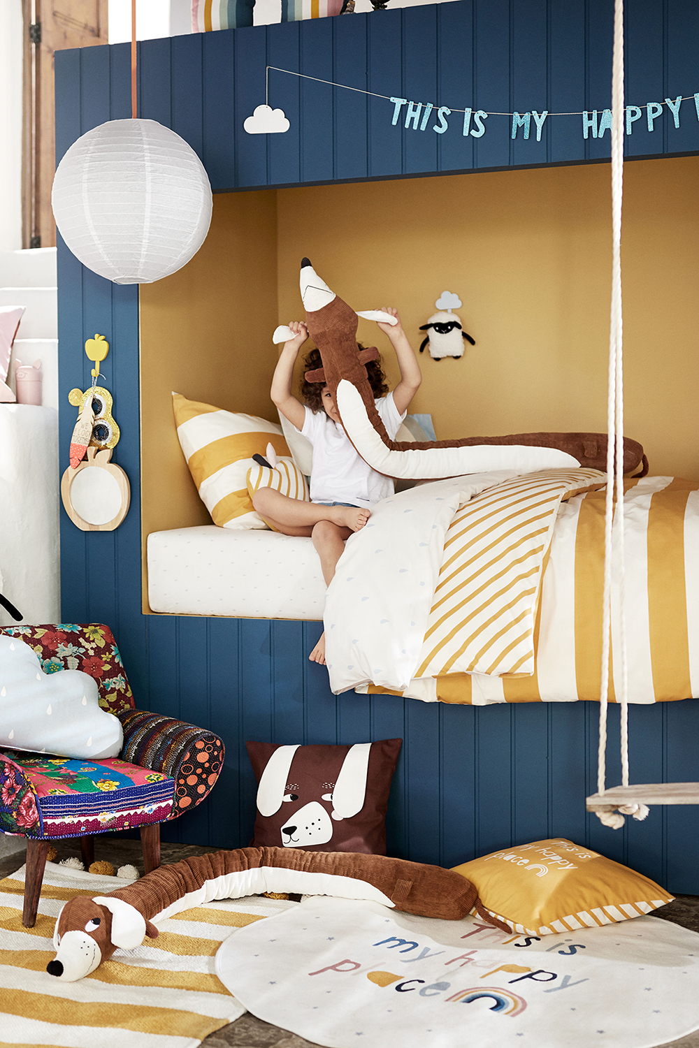 """""""This is my happy place"""" says H&M Home, blue and yellow walls - 35 ideas for blue wall colour in home decoration   Aliz's Wonderland"""