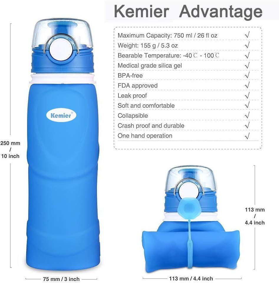 Kemier Collapsible Silicone Water Bottle - Useful gift ideas for travel lovers | Aliz's Wonderland
