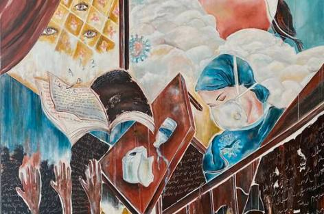 قيود زمن كورونا رسالة تشكيلية للفنانة هدى كداري