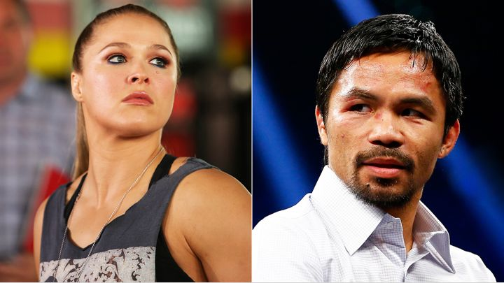 Ronda Rousey weighs in on Manny Pacquiao's anti-gay remarks. Paul Archuleta/FilmMagic/Getty, Al Bello/Getty