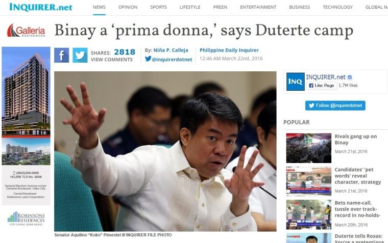 Screengrab from inquirer.net website