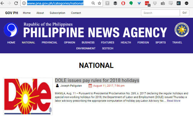 Philippine News Agency's uses Dole pineapple logo as Department of Labor and Employment logo