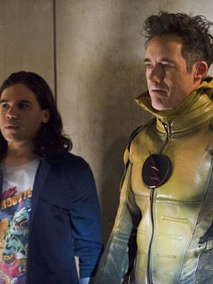 Earth 2's Harrison Wells dons the suit of his Earth 1 counterpart.