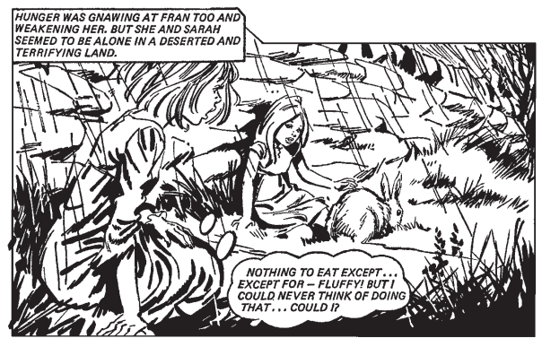 Comic panel showing Fran contemplating eating her companion's pet rabbit.