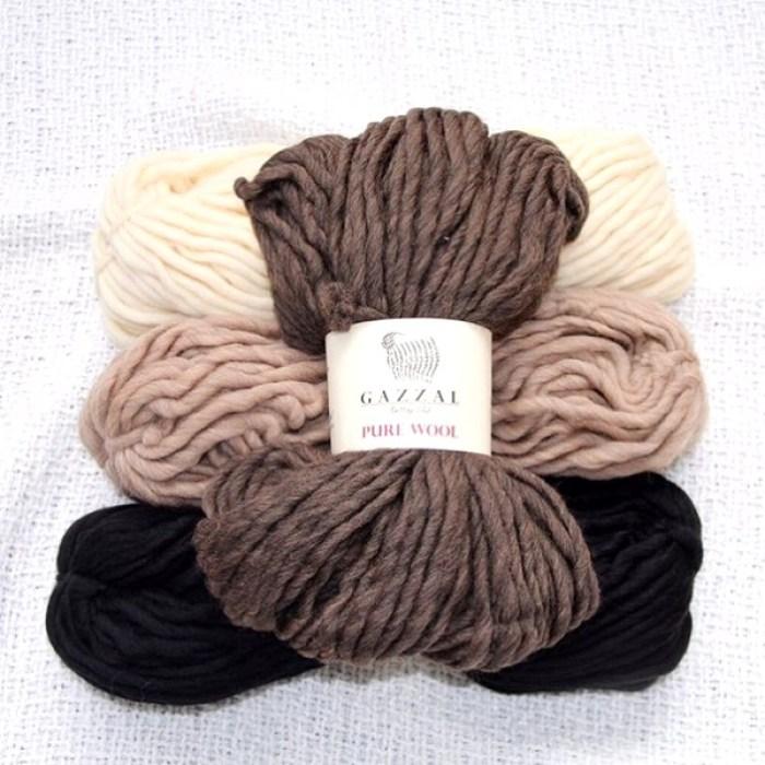 Толстая шерстяная пряжа Gazzal Pure Wool