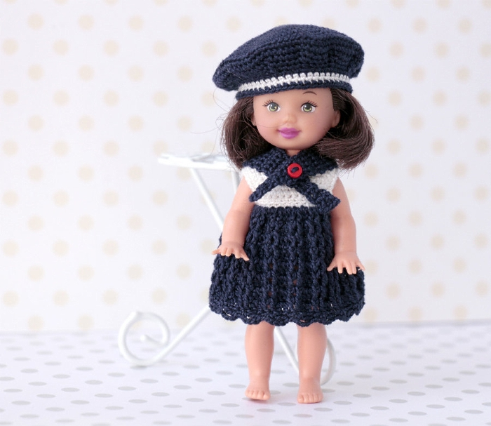 Miniature crocheted nautical style dress