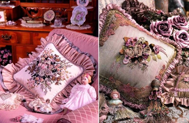 Вышивка лентами на подушках