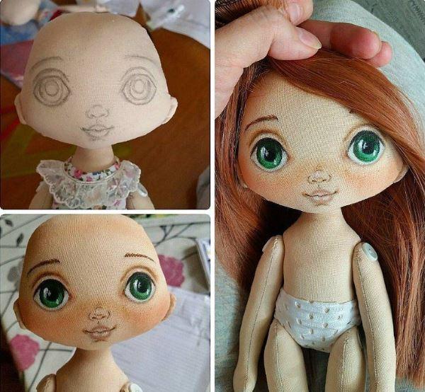 как нарисовать кукле глаза