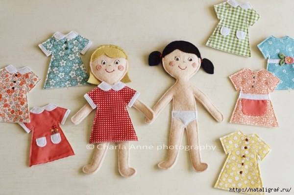 куклы из фетра с одеждой