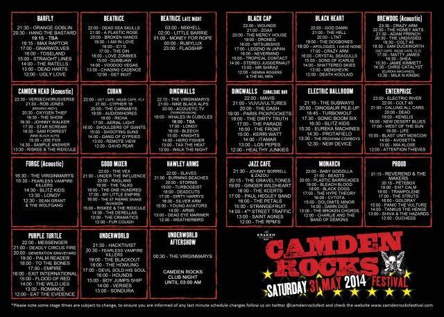 Camden Rocks stage times
