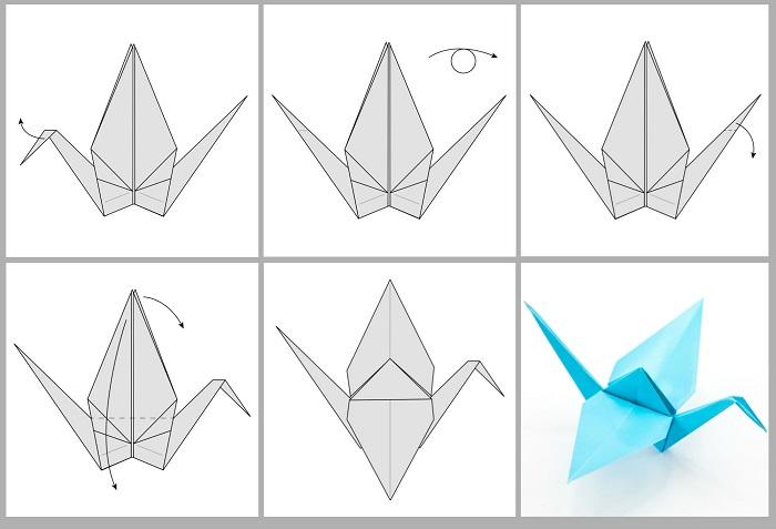 Складывание жураавля оригами: этапы 49-54