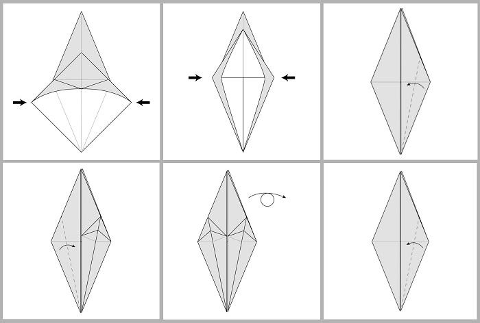 Складывание жураавля оригами: этапы 25-30