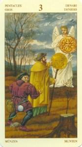 Таро Брейгеля 3 Монет (пентаклей)