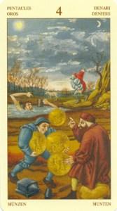 Таро Брейгеля 4 Монет (пентаклей)