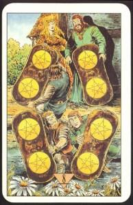 Таро Зеркало Судьбы изображение аркана 8 Пентаклей