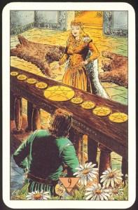Таро Зеркало Судьбы изображение аркана 9 Пентаклей