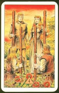 Таро Зеркало Судьбы изображение аркана 4 Жезлов