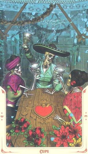 3 Кубков Таро святой смерти (Santa Muerte Tarot)