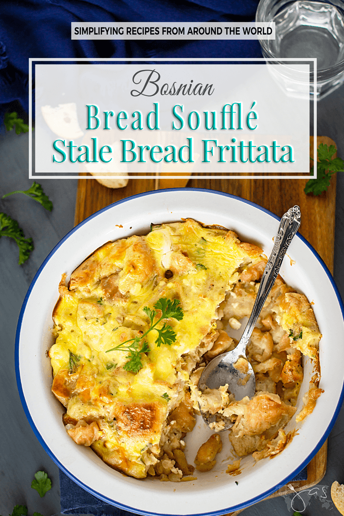 This easy and delicious dish made with a few simple ingredients is a traditional Balkan way of using stale bread and it's great for breakfast, side or a vegetarian main dish. | allthatsjas.com | #side #main #breakfast #vegetarian #bread #recipes #casserole #frittata #souffle #easyrecipe #allthatsjas