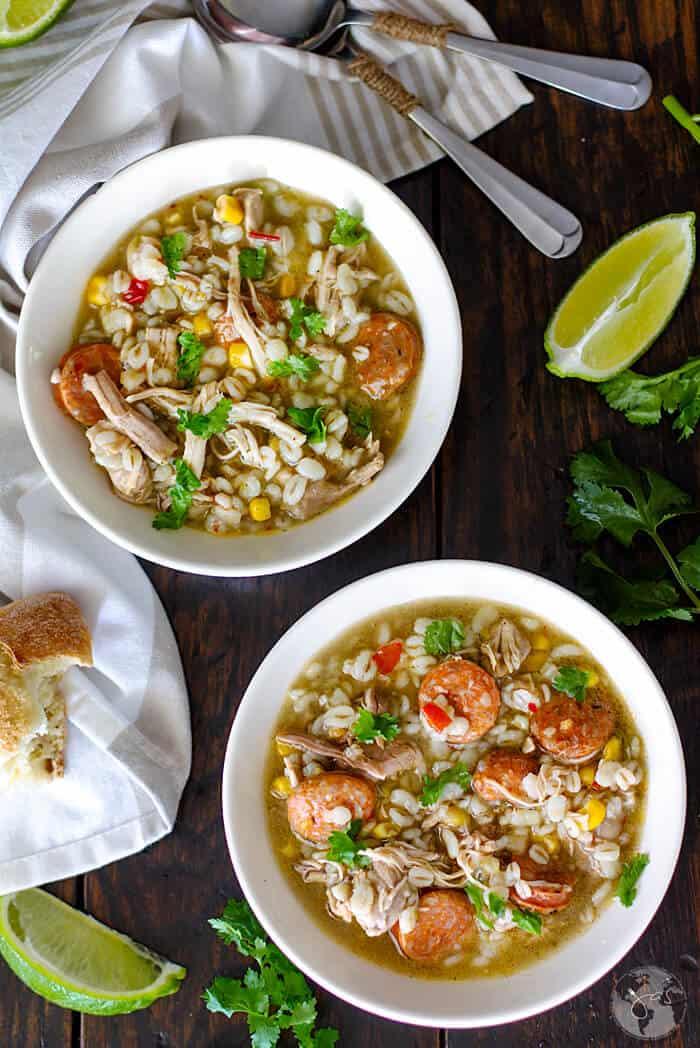 New Orleans gumbo stew with chicken, sausage and okra | allthatsjas.com | #gumbo #stew #soup #recipeoftheday #comfortfood #cajuncuisine