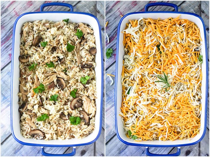Layering the casserole with rice, turkey, mushroom mixture and cheese