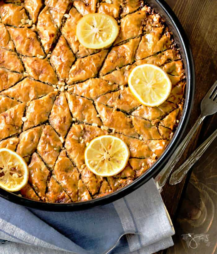 Round baklava cut into a star shape