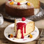 French Lemon Yogurt Cake with Raspberry Sauce | All that's Jas